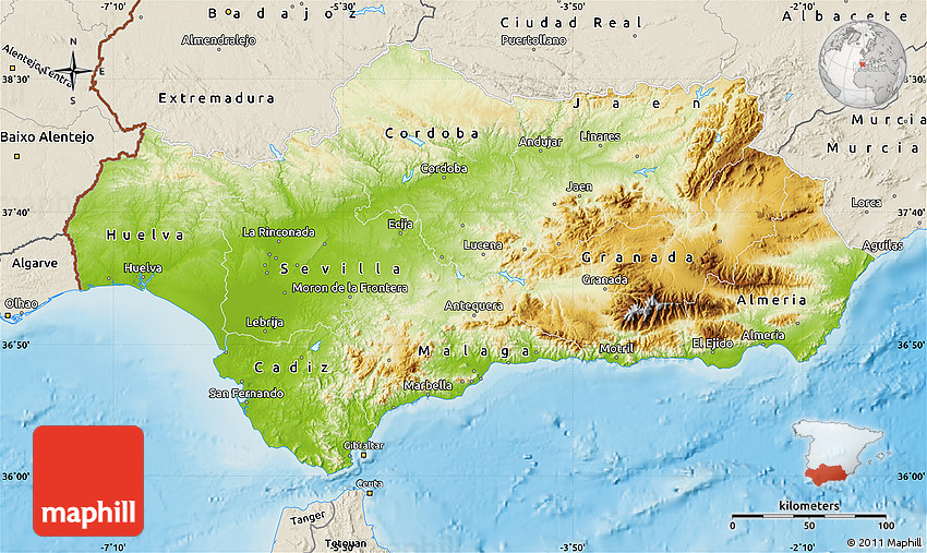 Physical Map Of Andalucia Shaded Relief Outside - Map of andalusia