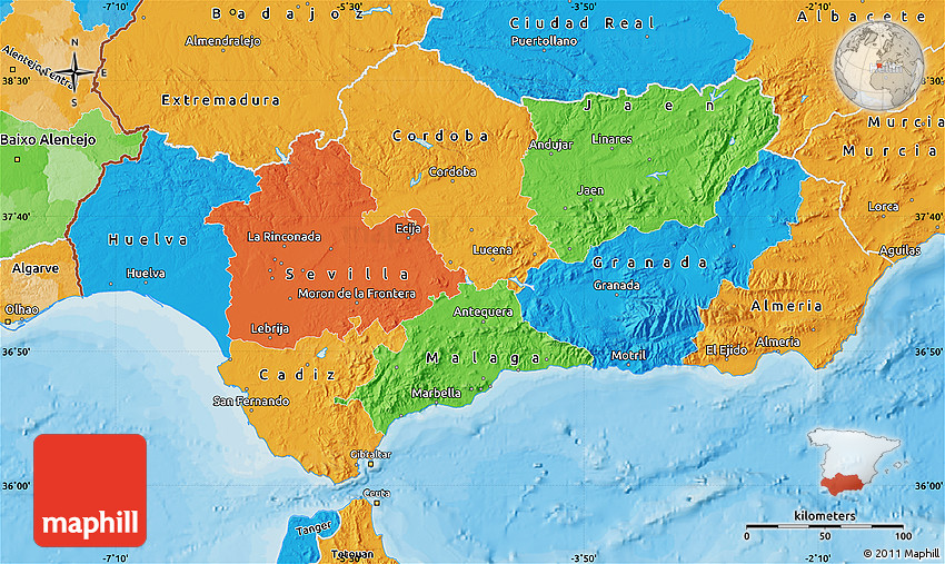 Moron Spain Map.Political Map Of Andalucia