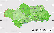 Political Shades Map of Andalucia, cropped outside