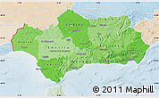 Political Shades Map of Andalucia, lighten