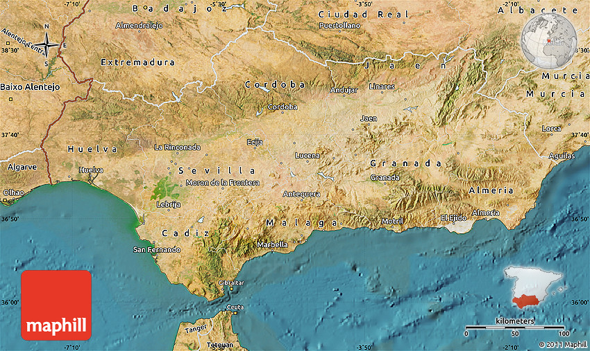 Satellite Map Of Andalucia - Map of andalusia