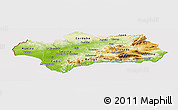 Physical Panoramic Map of Andalucia, cropped outside