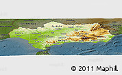 Physical Panoramic Map of Andalucia, darken