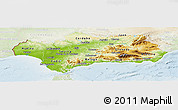 Physical Panoramic Map of Andalucia, lighten