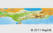 Physical Panoramic Map of Andalucia, political outside