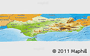 Physical Panoramic Map of Andalucia, political shades outside