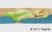 Physical Panoramic Map of Andalucia, satellite outside
