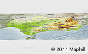 Physical Panoramic Map of Andalucia, semi-desaturated