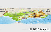 Physical Panoramic Map of Andalucia, shaded relief outside