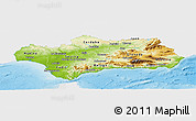 Physical Panoramic Map of Andalucia, single color outside