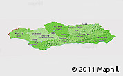 Political Shades Panoramic Map of Andalucia, cropped outside