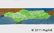 Political Shades Panoramic Map of Andalucia, darken