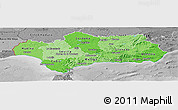 Political Shades Panoramic Map of Andalucia, desaturated