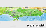Political Shades Panoramic Map of Andalucia, physical outside