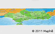 Political Shades Panoramic Map of Andalucia