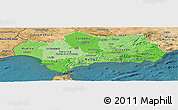 Political Shades Panoramic Map of Andalucia, satellite outside