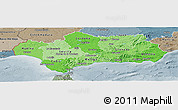 Political Shades Panoramic Map of Andalucia, semi-desaturated