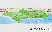 Political Shades Panoramic Map of Andalucia, shaded relief outside