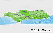 Political Shades Panoramic Map of Andalucia, single color outside