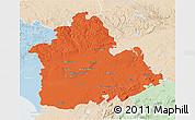 Political 3D Map of Sevilla, lighten