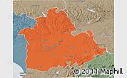 Political 3D Map of Sevilla, semi-desaturated