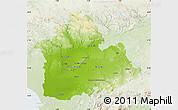 Physical Map of Sevilla, lighten