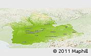 Physical Panoramic Map of Sevilla, lighten