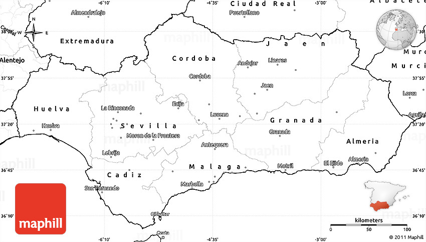 Blank Simple Map Of Andalucia - Andalusia map