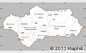 Gray Simple Map of Andalucia, cropped outside