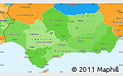 Political Shades Simple Map of Andalucia, political outside