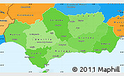 Political Shades Simple Map of Andalucia