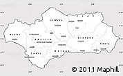 Silver Style Simple Map of Andalucia, cropped outside