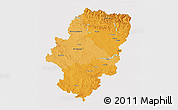 Political Shades 3D Map of Aragón, cropped outside