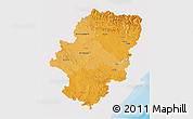 Political Shades 3D Map of Aragón, single color outside