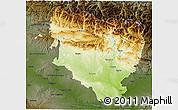Physical 3D Map of Huesca, darken