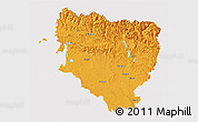 Political 3D Map of Huesca, cropped outside