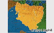 Political 3D Map of Huesca, darken