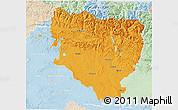 Political 3D Map of Huesca, lighten
