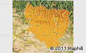 Political 3D Map of Huesca, satellite outside