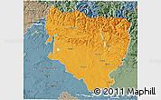 Political 3D Map of Huesca, semi-desaturated