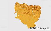 Political 3D Map of Huesca, single color outside