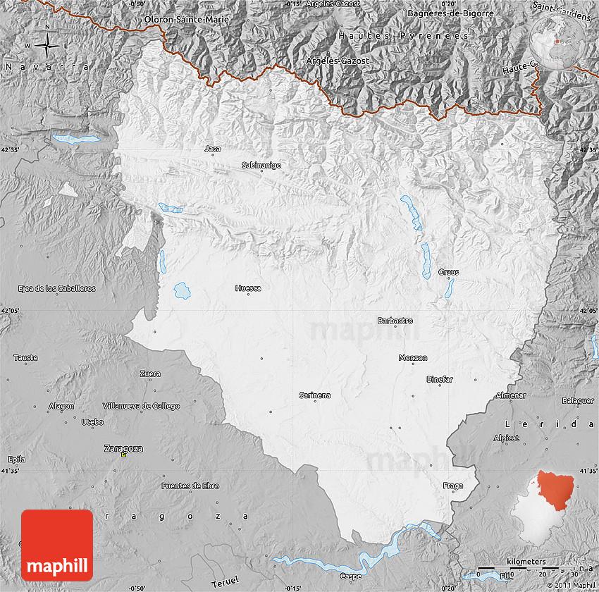 Map Of Spain Huesca.Gray Map Of Huesca