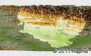 Physical Panoramic Map of Huesca, darken