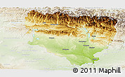 Physical Panoramic Map of Huesca, lighten