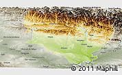 Physical Panoramic Map of Huesca, semi-desaturated