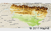 Physical Panoramic Map of Huesca, shaded relief outside