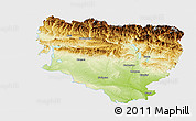 Physical Panoramic Map of Huesca, single color outside