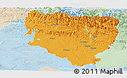 Political Panoramic Map of Huesca, lighten