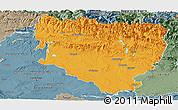 Political Panoramic Map of Huesca, semi-desaturated