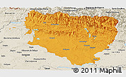 Political Panoramic Map of Huesca, shaded relief outside